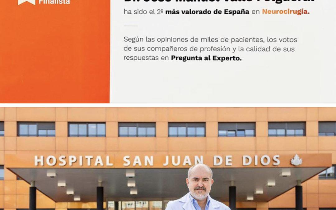 El neurocirujano ponferradino José Manuel Valle, el segundo mejor de España según los Doctorolia Awards